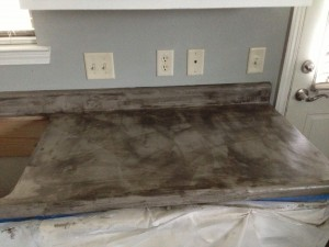 During countertop work (wet seal on counters)