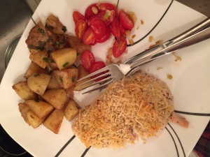 Parmesan crusted chicken with blistered tomatoes and balsamic potatoes